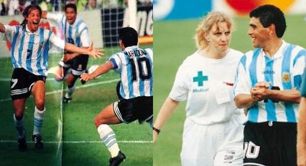Celebrando os gols de Caniggia (os últimos dele) há vinte anos e na saída  de campo a9369b8ec7428