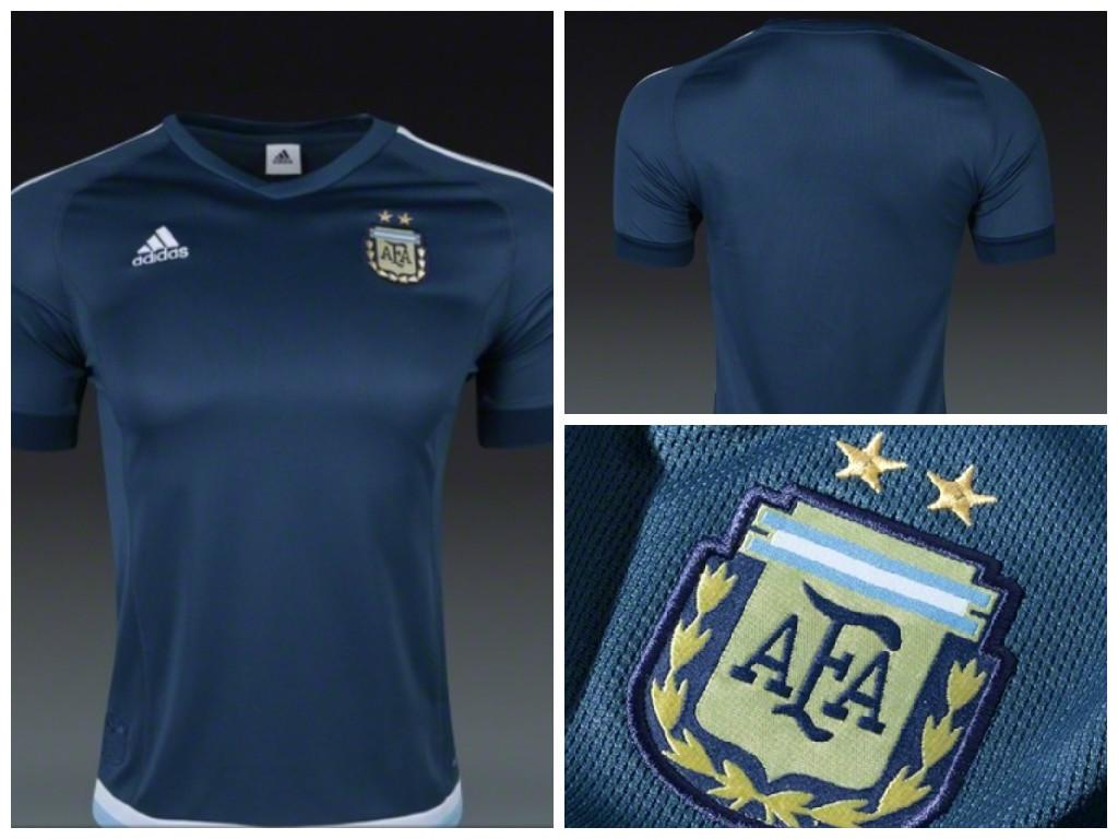 ec988d8424 Na noite passada, algumas lojas estadunidenses colocaram a venda a nova  camisa suplente da Argentina, que será utilizada na Copa América 2015, ...