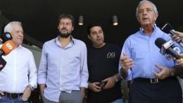 Os presidentes Víctor Blanco (Racing), Matías Lammens (San Lorenzo), Daniel Angelici (Boca) e Rodolfo D'Onofrio (River)